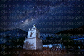 Milky Way Galactic Centre rising above belfry of St Peter / San Pedro church, Guañacagua, Region XV, Chile
