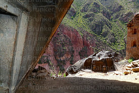 View of Huaracondo Valley from inside cave at Ñaupa Iglesia shrine / huaca, Huaracondo Valley, Cusco Region, Peru