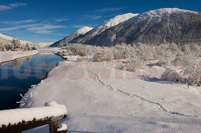 Winter Day at the River Inn Engadin Valley