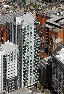 aerial photograph of  the Great Northern Tower Manchester