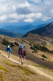 Hikers near Obstruction Point in Olympic National Park