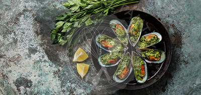 Mussels Clams Kiwi with parmesan cheese and parsley in cooking pan on metal background copy space