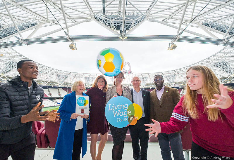 England, UK . 5.12.2017. London . Olympic Stadium. West Ham United celebrate accreditation as a London living wage employer..