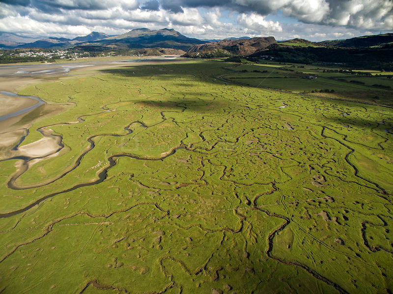 Aerial view of saltmarsh with small meandering drainage tributaries. River Dwyryd estuary, village of Portmeirion and Snowdon...