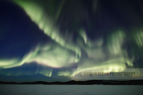 Full sky of aurora in Inari