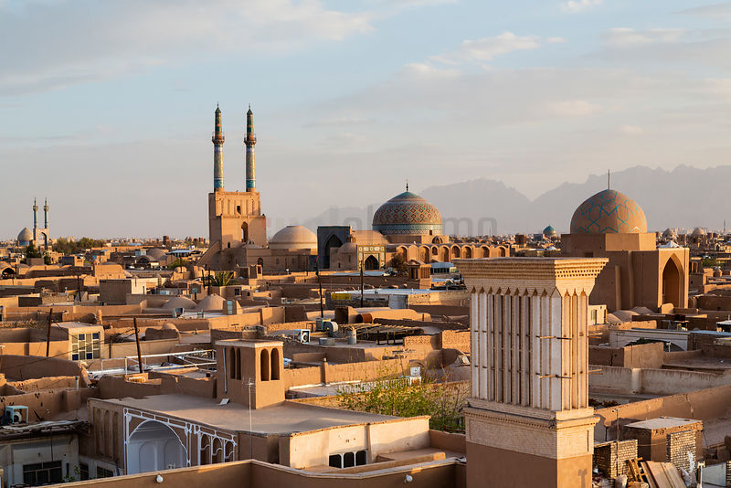 Elevated View of the City of Yazd at Sunset