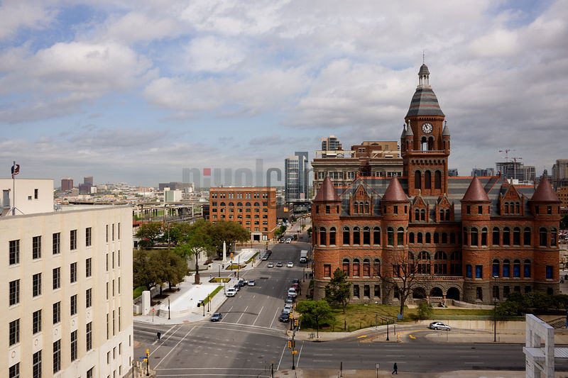 Buildings in a city, Old Red Courthouse, Texas School Book Depository, Dealey Plaza, Dallas, Texas, USA