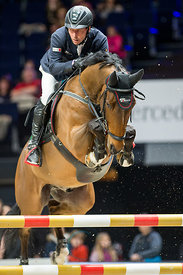 Zurich, Switzerland, 27.1.2018, Sport, Reitsport, Mercedes-Benz CSI Zurich - Art on Ice Championat. Bild zeigt Hans-Dieter DREHER (GER) riding NADAL Z...27/01/18, Zurich, Switzerland, Sport, Equestrian sport Mercedes-Benz CSI Zurich - Art on Ice Championat. Image shows Hans-Dieter DREHER (GER) riding NADAL Z.