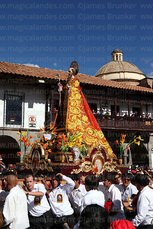Figure of San Antonio Abad during Corpus Christi festival parades, Plaza de Armas , Cusco , Peru