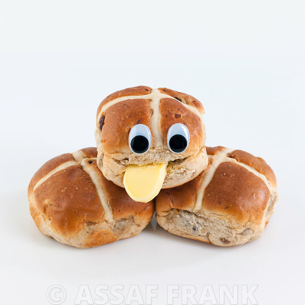 Hot cross bun sticking out tongue