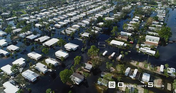 Flooding of Homes in the Aftermath of Hurricane Irma Florida. Search and Rescue Boat.