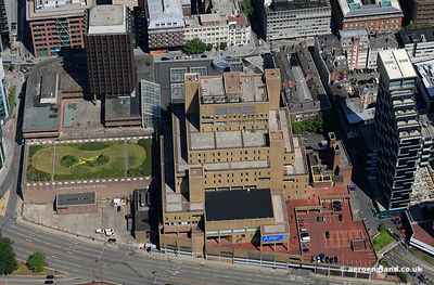 "aerial photograph of New Hall Place , also known as The Capital and the Royal & Sun Alliance Building but popularly called ""T..."