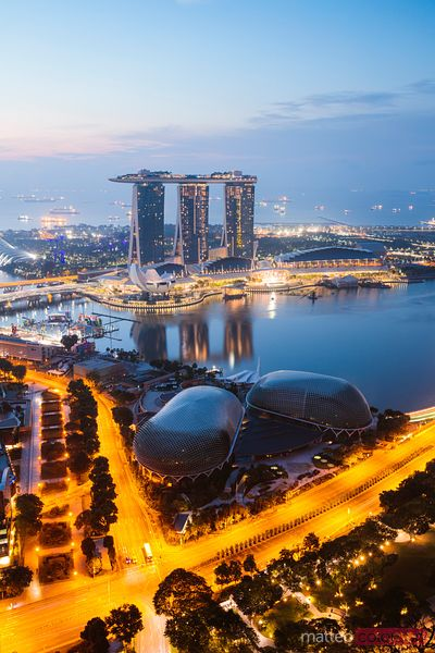 Elevated view of Marina Bay Sands, Singapore