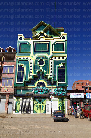 "Brightly decorated building called a ""cholet"", El Alto, Bolivia"