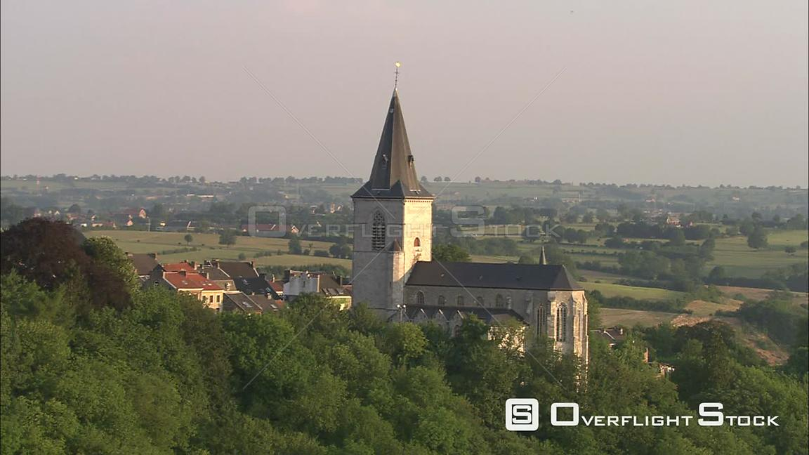 Flying past a church steeple in Limbourg, Belgium