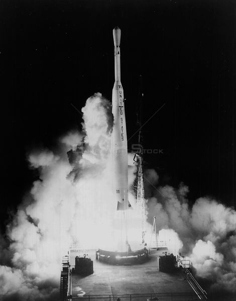 CAPE CANAVERAL, USA - 10 July 1962 - A Thor/Delta launches the Telstar 1 satellite from Cape Canaveral Air Force Station's La...
