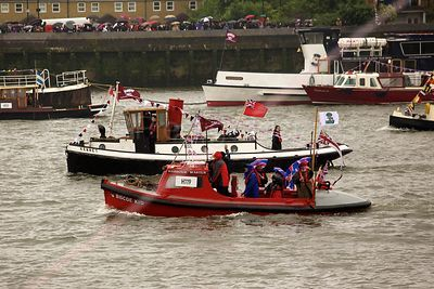 Eyemouth harbourmaster's boat Biscoe Kid in The Thames River Pageant