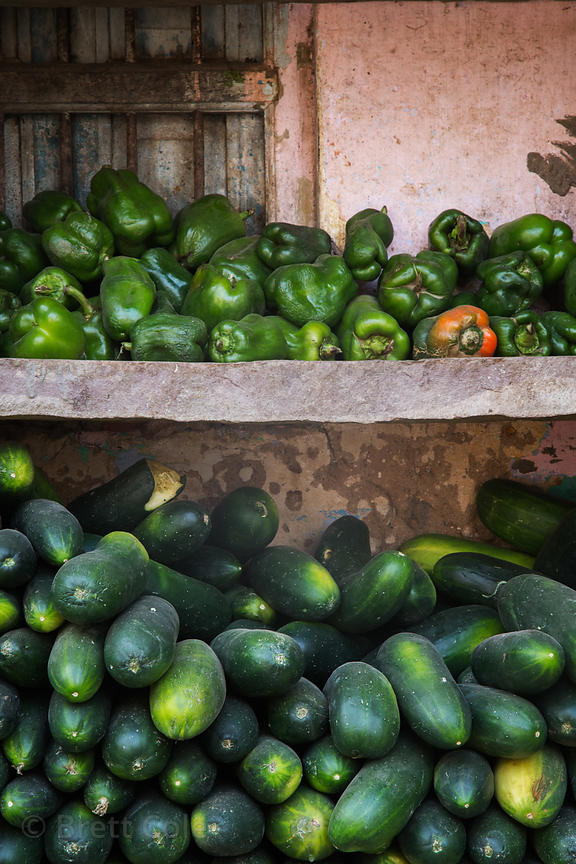 Cucumbers and green bell peppers for sale at a market, Pushkar, Rajasthan, India