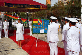Bolivian navy members present a Maritime Vindication flag floral tribute at start of official events for Dia del Mar / Day of...