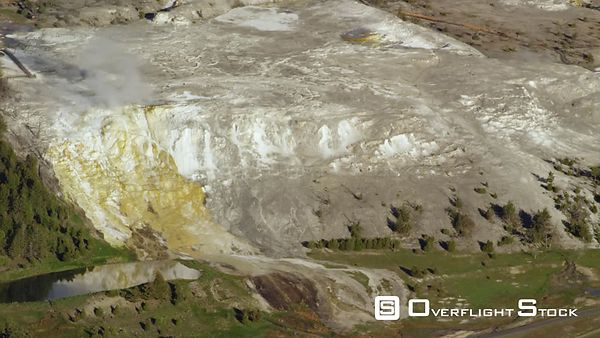 Mammoth Hot Springs, a large complex of hot springs on a hill of travertine in Yellowstone National Park