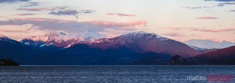 Sunset over Lake Maggiore and italian alps, Italy