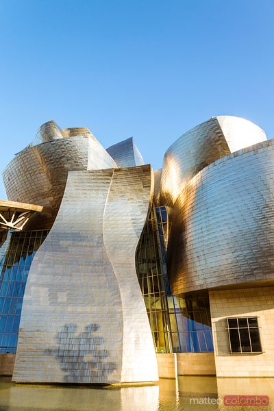 Detail of Guggenheim museum at sunset, Bilbao, Spain