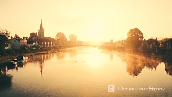 Morning in Marlow filmed by drone over river Thames, New Hampshire, United Kingdom