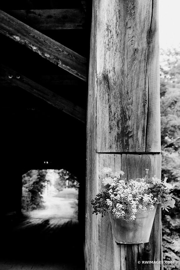 FLOWER BUCKET HOWE COVERED BRIDGE VERMONT BLACK AND WHITE VERTICAL