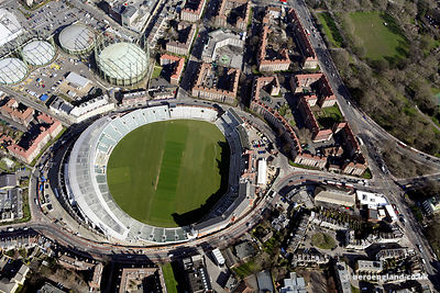 aerial photograph of the  Oval Cricket Ground . London   England UK. Also in the image are Kennington Oval, London SE11 5SW,t...