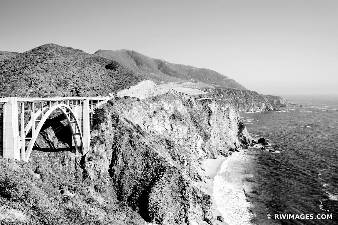 BIXBY BRIDGE BIG SUR PACIFIC COAST HIGHWAY ONE CALIFORNIA BLACK AND WHITE
