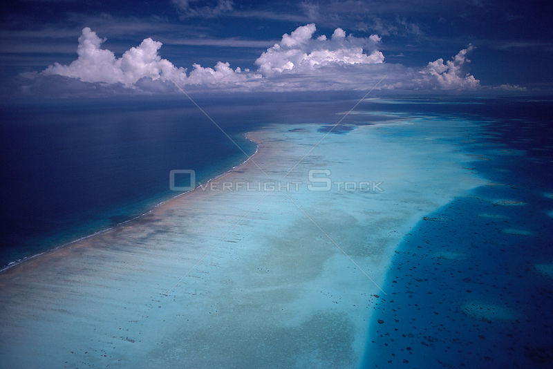 Aerial view of fringing coral reef, Palau Is, Pacific Ocean
