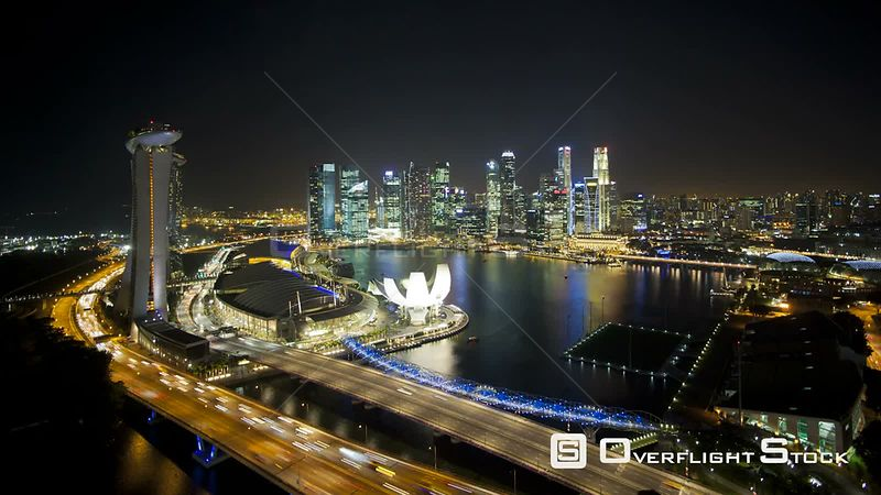 Timelapse of Singapore City Centre and Marina Bay, with descending camera, Singapore, 2011.