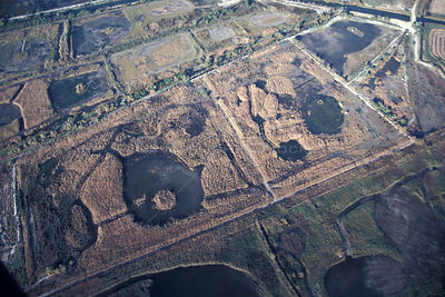 Aerial view of Camargue, area managed for hunting, France