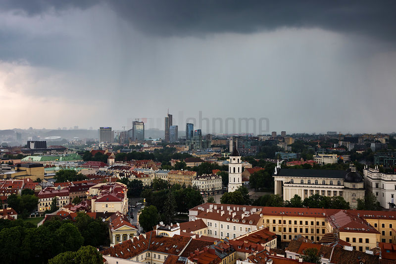 Elevated View of Vilnius from the Tower of St John's Church During a Electric Storm