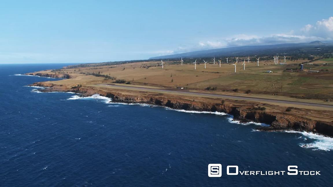 Wind farm near Upolu Airport on the north shore of the Big Island, Hawaii.