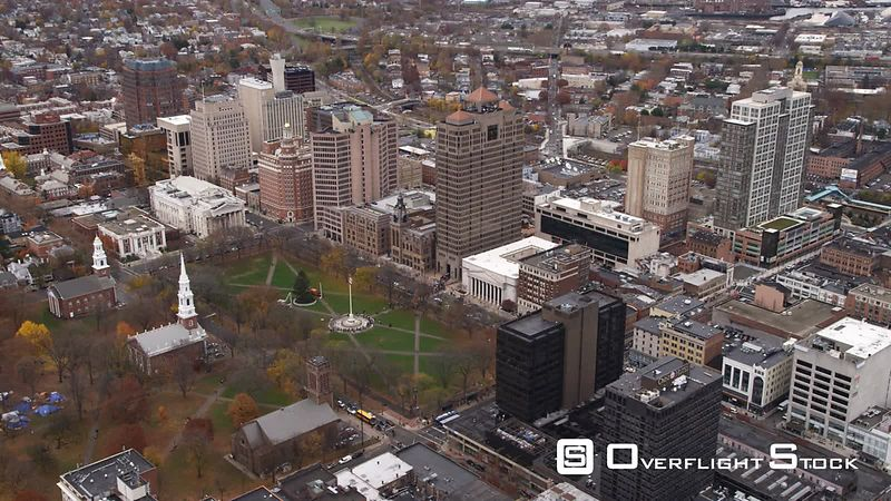Aerial View of Church on the Green and Downtown New Haven, CT.