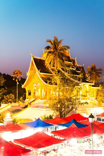 Wat Mai temple and night market, Luang Prabang, Laos