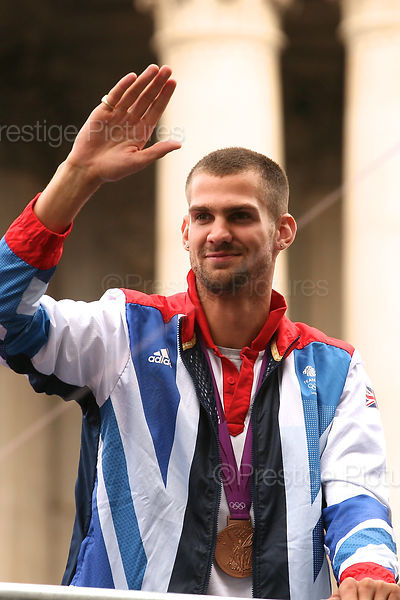 Robbie Grabarz of Team GB on the Athletes Parade through London