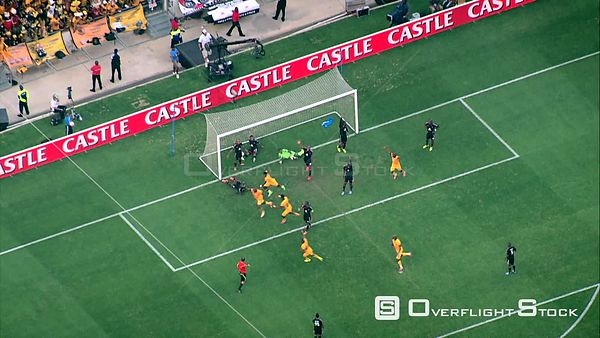 Aerial shot of a football match being played between Kaizer Chiefs and Orlando Pirates, at Soccer City. Johannesburg Gauteng ...