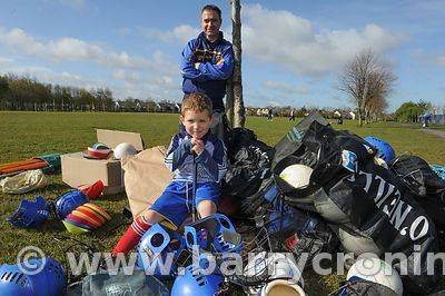 21st April, 2012. Castleknock GFC football nursery, Carpenterstown, Dublin. Pictured is Matthew and his Dad Enda Mullen with ...