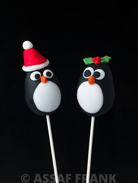 Two penguin pop cakes