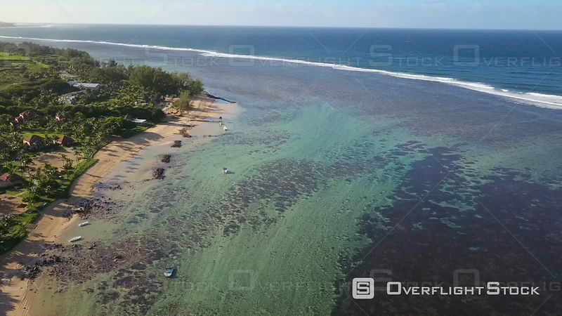 High flight over Sandy beach and clear Lagoon in BelOmbre, Mauritius