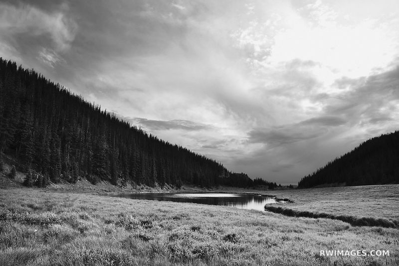 POUDRE LAKE ROCKY MOUNTAIN NATIONAL PARK COLORADO BLACK AND WHITE LANDSCAPE