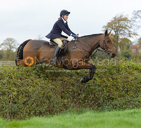 jumping a hedge near the meet in Long Clawson