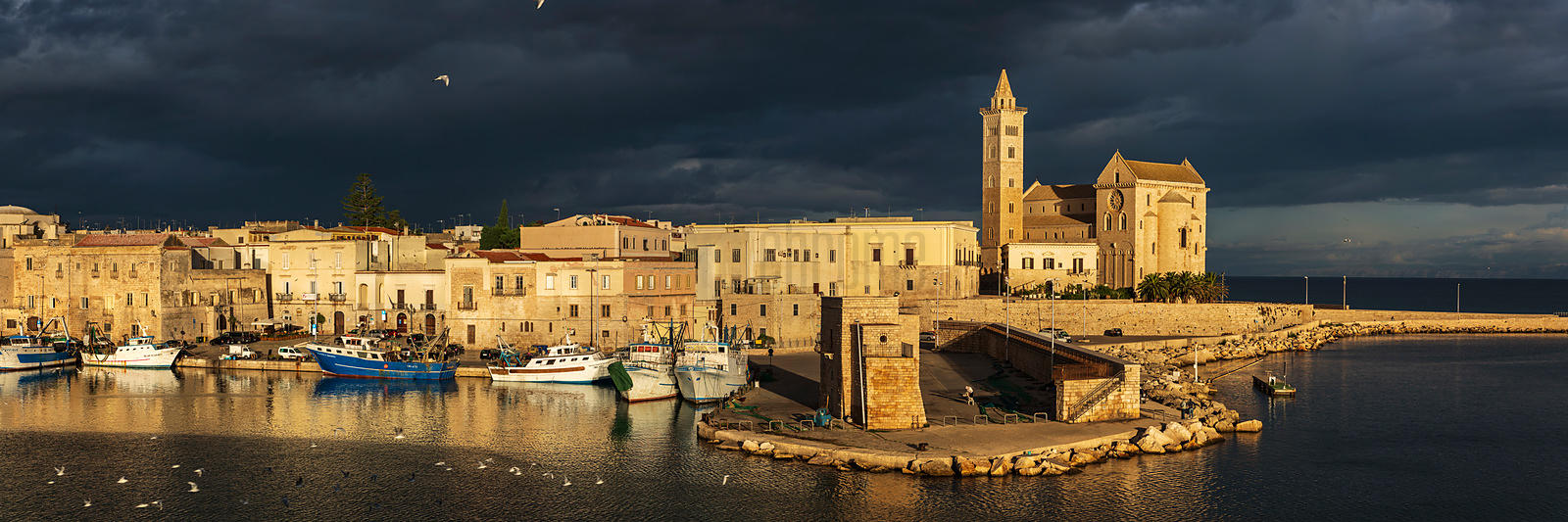 The Harbour and the Cathedral at Trani at Sunrise