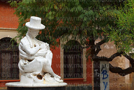 Statue of local indigenous woman in traditional dress and her baby, Tarata, Cochabamba Department, Bolivia