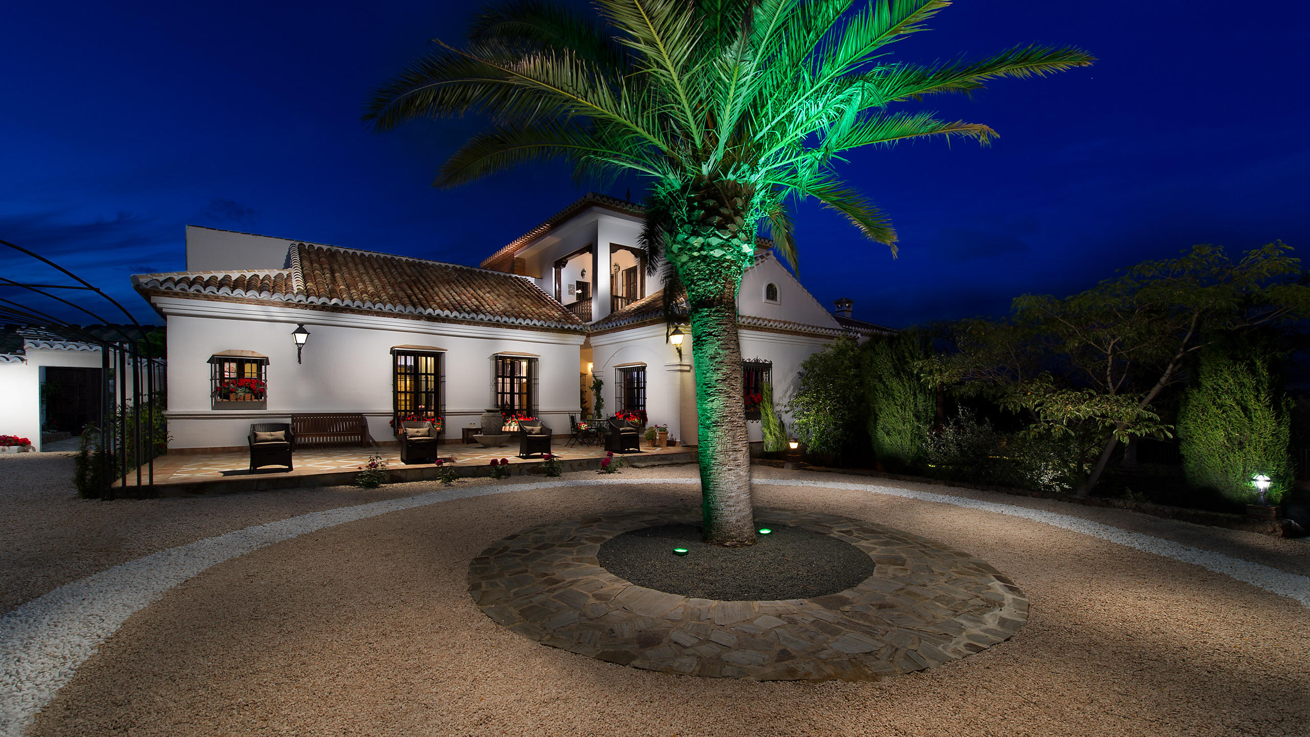 Luxury Villa Hotel by night in Andalucia, Spain