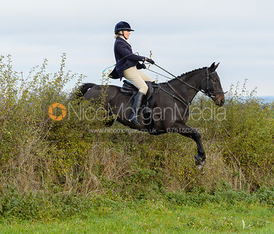 Justine Smiley-Jones jumping a hedge near Clawson Thorns