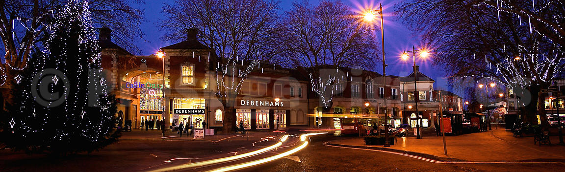 Banbury Christmas Lights with Debenhams in the Background