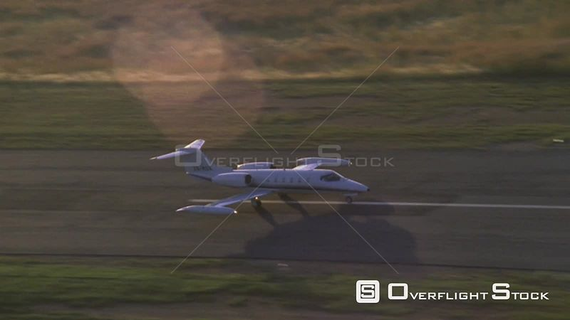 Aerial shot of a jet speeding up on a runway Johannesburg Gauteng South Africa